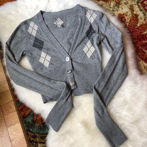 A&F💕Cardigan Beaded Plaid Gray Neutral Medium